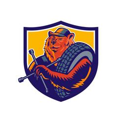 bear tireman crest vector image