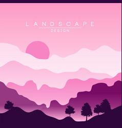 beautiful peaceful landscape purple mountain vector image