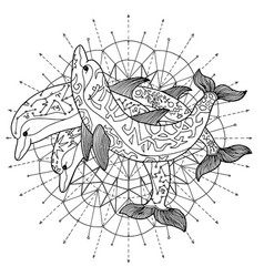Black and white drawing of three dolphins vector