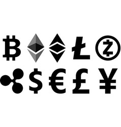 black cryptocurrency symbols on white vector image