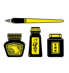 Black ink bottles and pen for calligraphy elegant vector