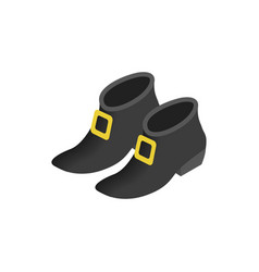 Black leprechaun boots isometric 3d icon vector image