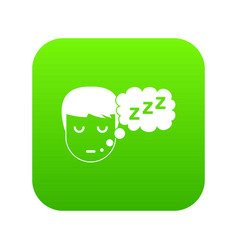 boy head with speech bubble icon digital green vector image