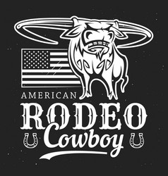 Bull cowboy rodeo american flag and horseshoe vector
