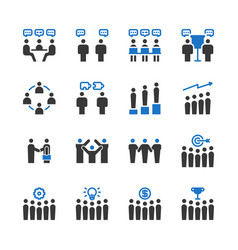 business teamwork icon set vector image
