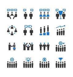 business teamwork icon set vector image