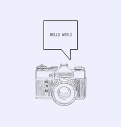 Camera with bubble text sketch vector