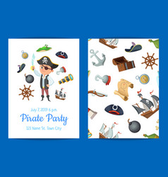 cartoon sea pirates birthday party vector image