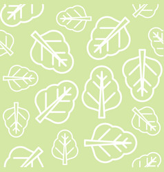 Chinese kale or spinach leaves outline seamless vector