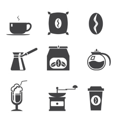 Coffe modern trendy silhouette isolated icons set vector image