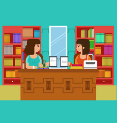 college students in the campus with tablet pc vector image