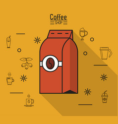 Colorful poster of coffee shop with bag of ground vector