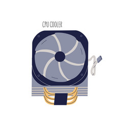 Cpu cooler with fan and wires internal computer vector