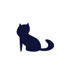cute cat mascot silhouette isolated dark blue icon vector image