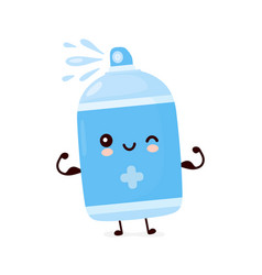 Cute happy antiseptic spray bottle show muscle vector