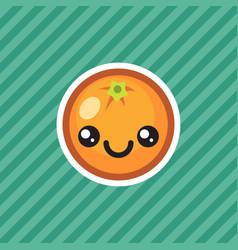Cute kawaii smiling orange fruit cartoon icon vector