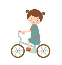 Cute little girl riding a bike vector