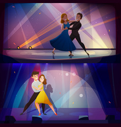 Dance banners set retro cartoon vector