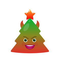 Demonic christmas tree isolated emoticon vector