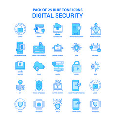 Digital security blue tone icon pack - 25 icon vector