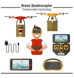 drone quadrocopter transportation technology set vector image