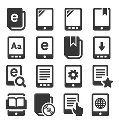 e-book reader icons set on white background vector image