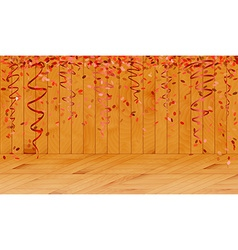 Falling red confetti in wooden room vector