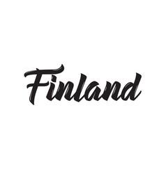Finland text design calligraphy vector