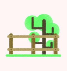Flat icon in shading style fenced tree vector