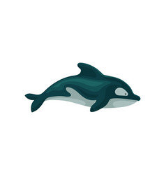 flat icon of dolphin marine creature with vector image