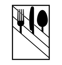 Fork knife and spoon in a napkin vector