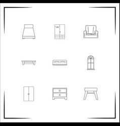 Furniture icons set outlined linear icons vector