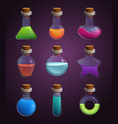 glass bottles with various liquids pictures vector image