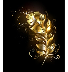 Golden Fluffy Feather vector