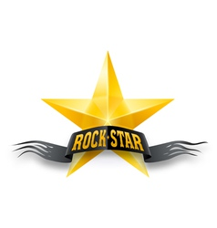 Golden star with Rock Star banner vector image vector image
