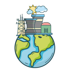 green energy planet cartoon vector image