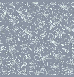 Grey pattern with white lily vector