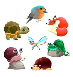 Group of cute isolated animals vector image