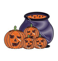 halloween pumpkins and cauldron magic vector image