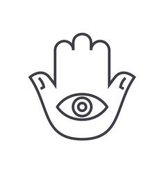Hamsa hand line icon sign on vector