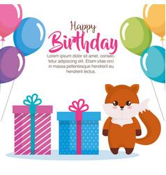 Happy birthday card with fox vector