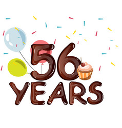 happy birthday fifty six 56 year vector image