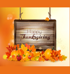 Happy thanksgiving background with autumn vector