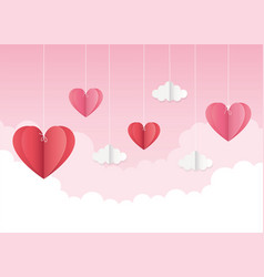 happy valentines day origami hanging hearts clouds vector image