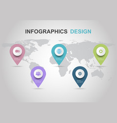 infographic design template with pins vector image