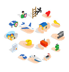 Insurance icons set isometric 3d style vector