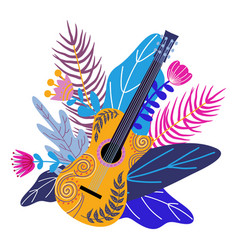 Isolated guitar and bright tropical leaves on vector