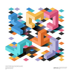 isometric abstract background with geometric vector image