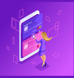 isometric online credit cards online bank account vector image