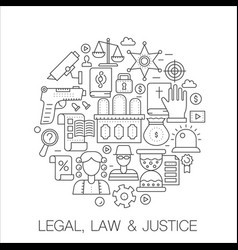 legal law and justice in circle - concept line vector image